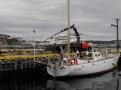 Re-stepping main mast, Newfoundland Oct 2011