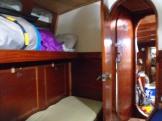 starboard side settees in forecabin