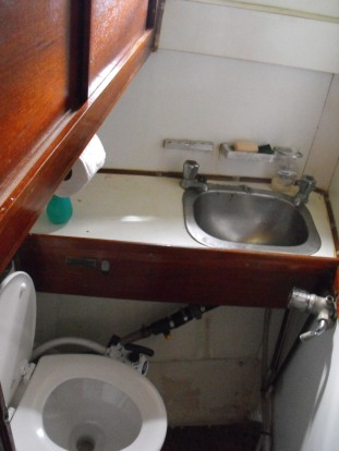 forward toilet with holding tank