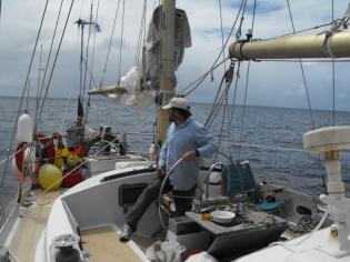 steering between islands on one small jib