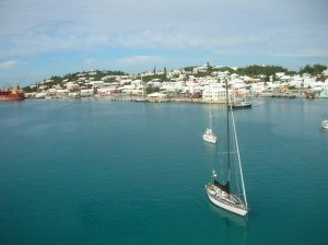 View from top of DAGNY's mast, Powder Hole, Bermuda