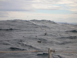 Stormy seas with north Spain in background
